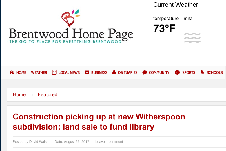Witherspoon featured on Brentwood Home Page